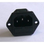 IEC power socket with build-in fuse holder